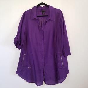 Lane Bryant Purple Cotton Silk Blend Tunic Top